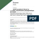 Claude Lévi-Strauss Guillaume Lecointe & Hervé Le Guyader, Classification Phylogénétique Du Vivant