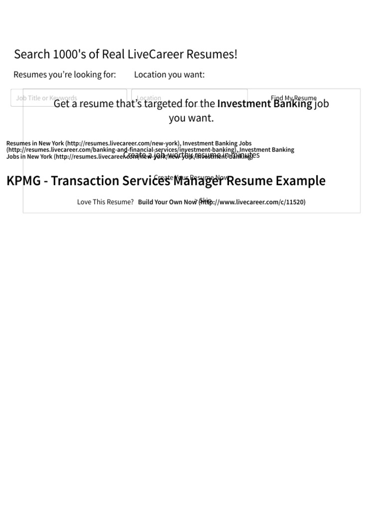 Transaction Services Manager Resume Example Kpmg New York
