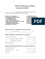 Residential Sevice Load Worksheet for Electrical Vehicle Charging System