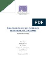 Analis Critico de Materiales Resistentes a La Corrosion