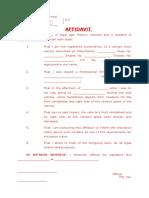 AFFIDAVIT - Insurance