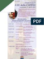 Programma settenario festa Maria SS. della Catena a Laurignano (Cs)