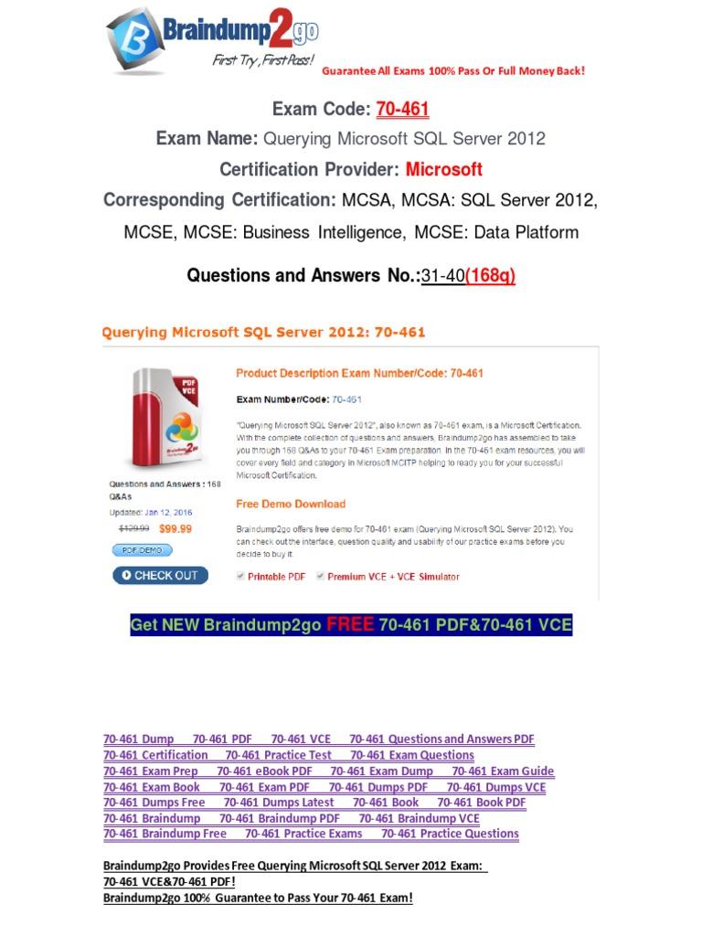Pdfvcebraindump2go 70 461 Questions And Answers Pdf 31 40