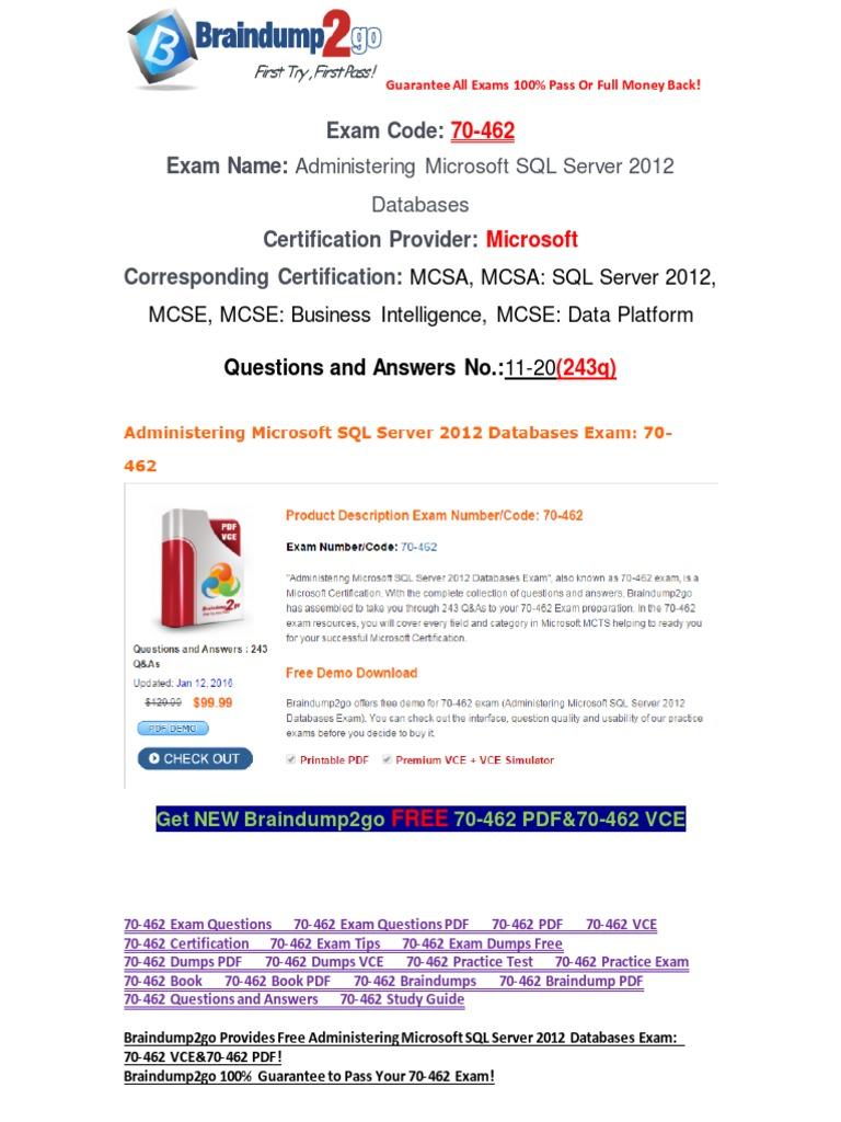 100 Passbraindump2go Latest 70 462 Pdf Free 11 20 Microsoft Sql