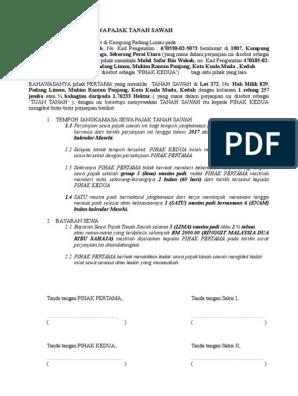 Surat Perjanjian Sewa Pajak Tanah Sawah 2016