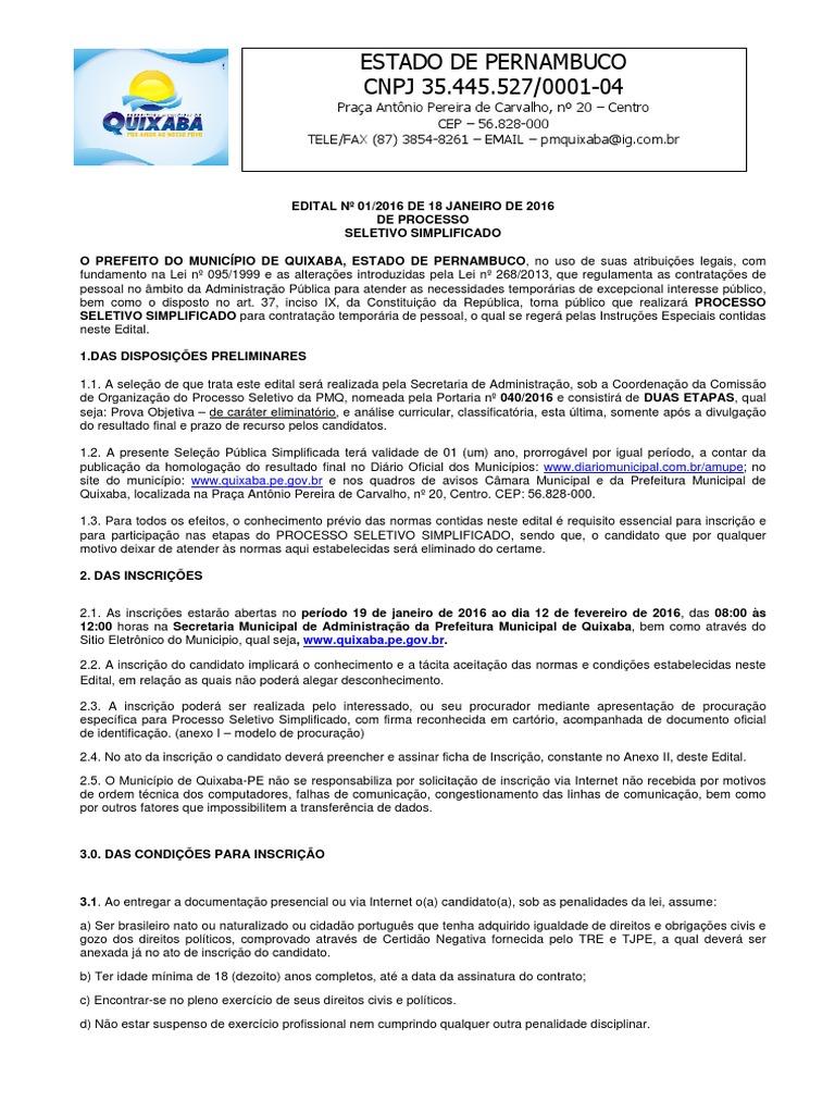 Edital Da Selecao 2016 - Prefeitura de Quixaba 400d6bf4c40a4