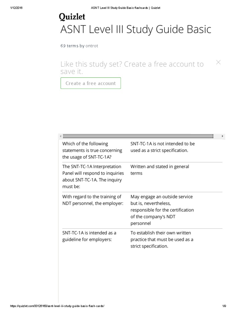 Asnt Level Iii Study Guide Basic Flashcards Quizlet