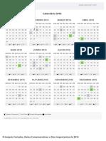Calendário 2016 Para Imprimir