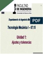 Ajustes y Tolerancias 1 Presentacion de Clase Tecnologia Mecanica I Facultad de Ingenieria Buenos Aires