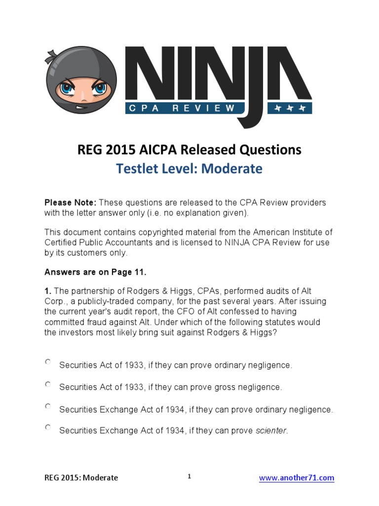 AICPA Released Questions REG 2015 Moderate | S Corporation | Trust Law