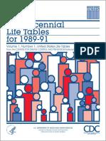 US Decennial Life Tables for 1989-1991