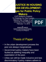 08 Social Justice in Housing and Urban Development - Prof. Ernesto M. Serote