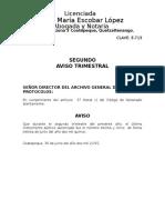 2do. Aviso Trimestral al archivo general de protocolo