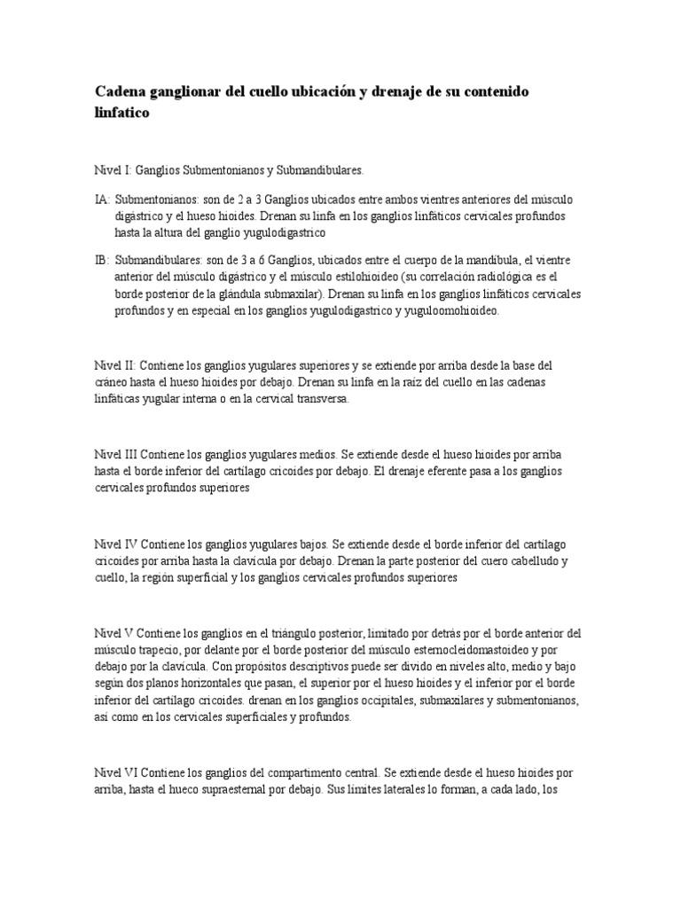 Cadena Ganglionar Del Cuello Ubicación y Drenaje de Su Contenido ...
