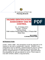 Hazard Identification Risk Assessment and Risk Control