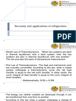 Necessity and Applications of Refrigeration