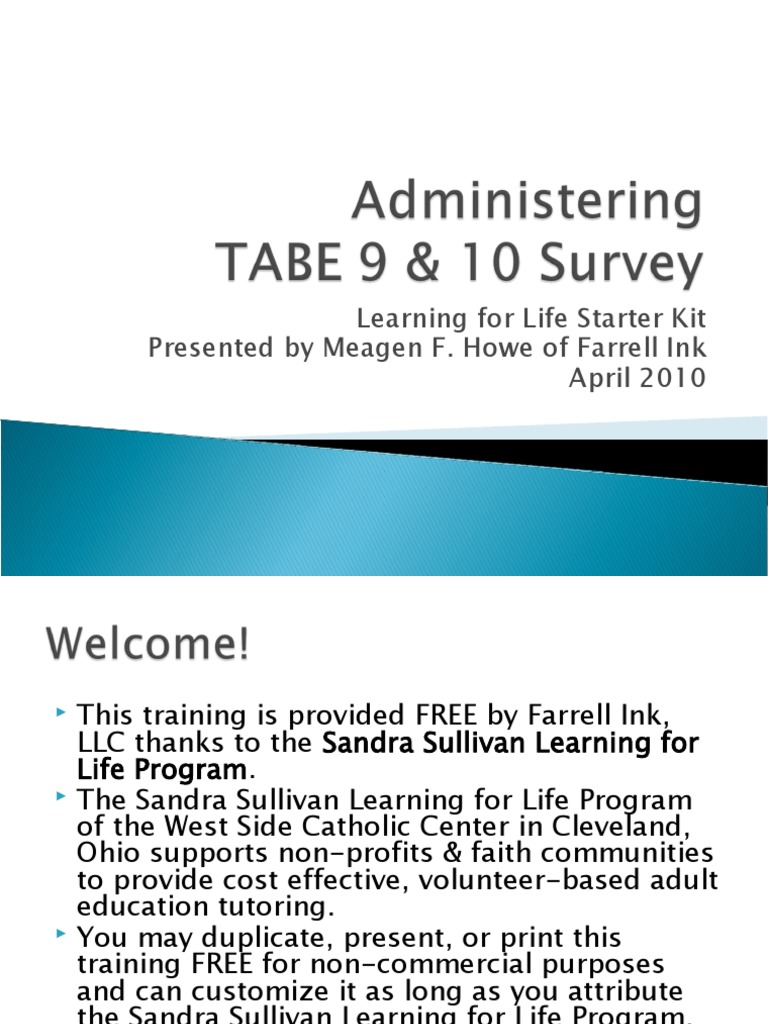 Administering TABE 9-10 Survey | Test (Assessment) | General ...