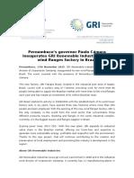 Pernambuco's governor Paulo Cámara inaugurates GRI Renewable Industries' new wind flanges factory in Brazil