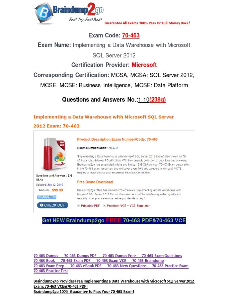 Pdfvcebraindump2go 70 463 Dumps 1 10 Microsoft Sql Server