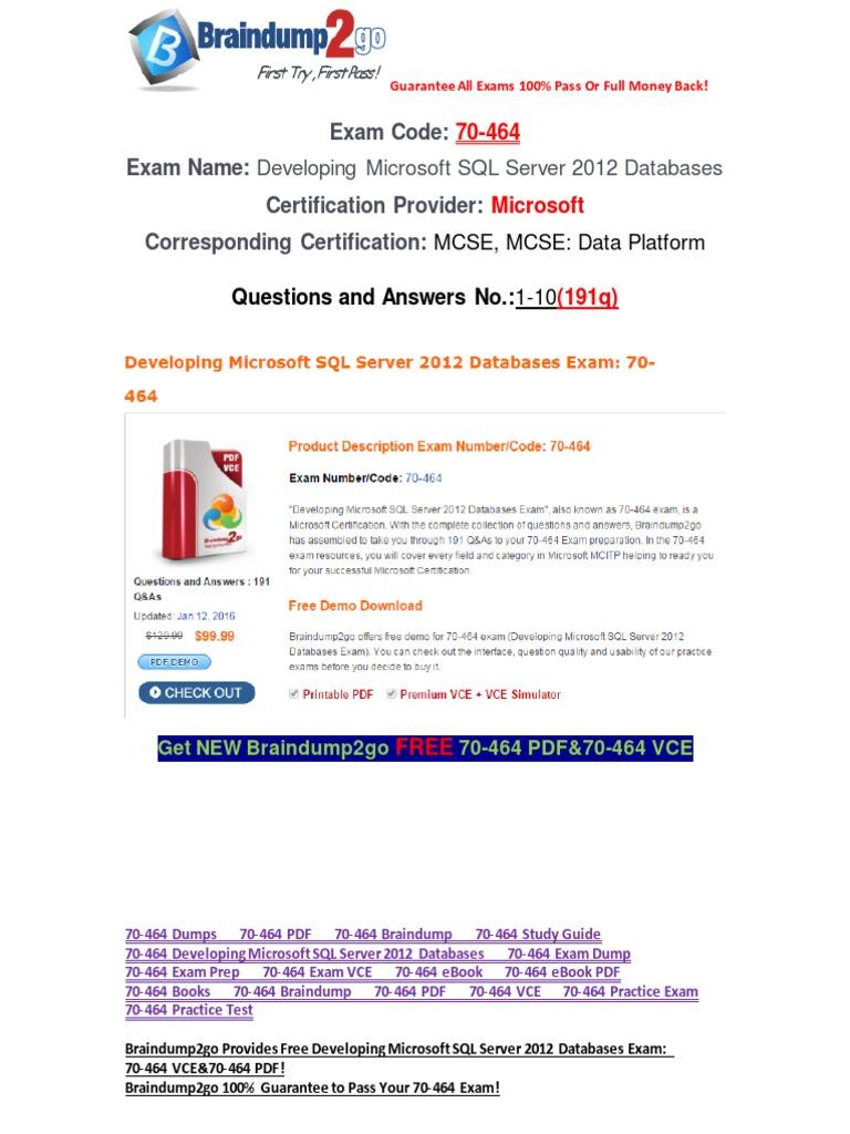 100 Passbraindump2go 70 464 Dumps 1 10 Microsoft Sql Server
