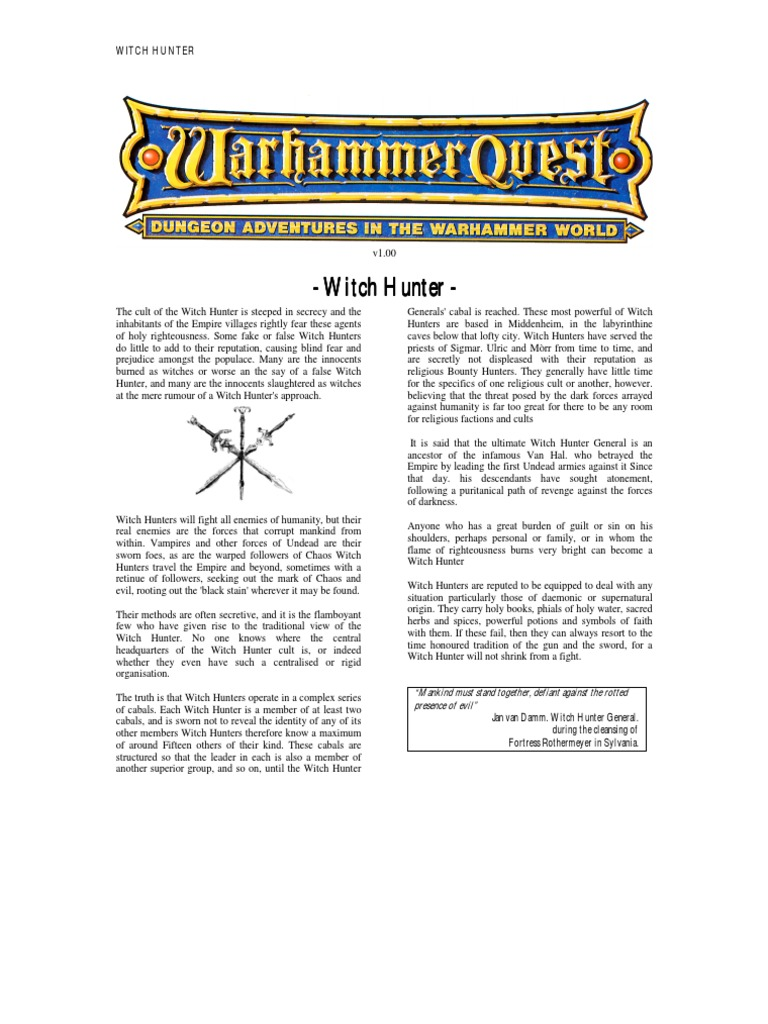 Warhammer quest characters witch hunter witchcraft buycottarizona Gallery