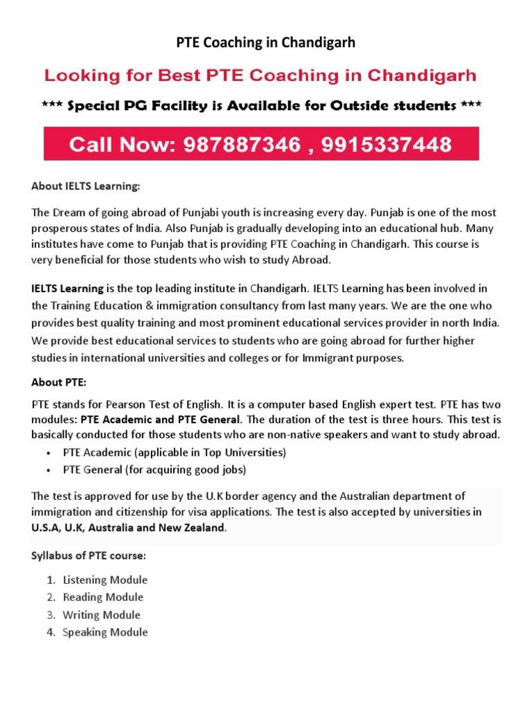 PTE Coaching in Chandigarh | IELTS (Sistema internacional de pruebas