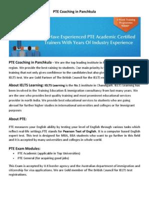 PTE Coaching in Panchkula | International English Language