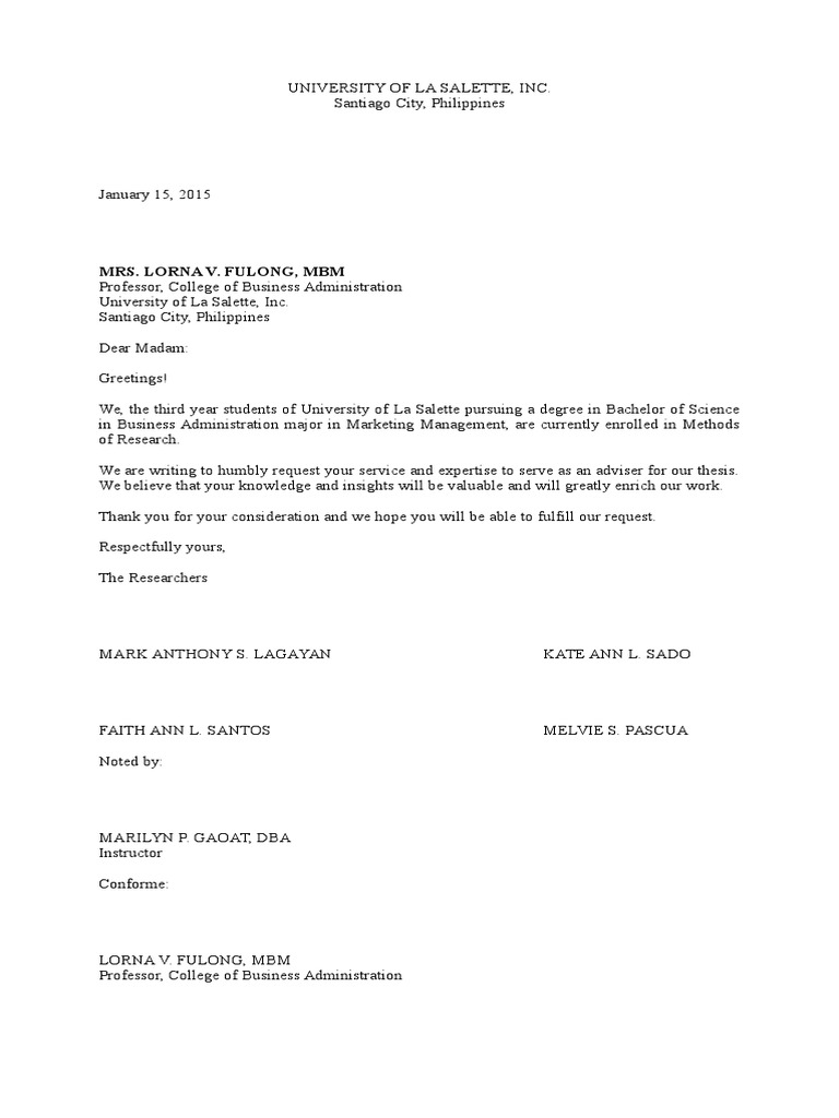 Sample request letter for thesis adviser thecheapjerseys Images