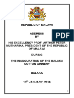 Address by President Arthur Peter Mutharika During the Inauguration of the Balaka Cotton Ginnery in Balaka on 18th January, 2016
