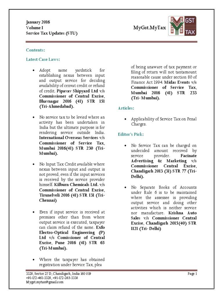 Monthly E-Journal Service Tax Update (STU)/GST (January 2016 || Volume 1) |  Taxes | Politics