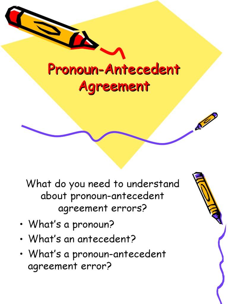 pronoun antecedent ppt grammatical number pronoun