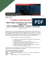 FINAL ADA Workshop in SPANISH Public Meeting Notice