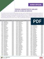 Lista de Personal Administrativo Jubilados ME Enero 2016 Con Mas de 35 Años de Servicio - Notilogía