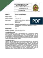 Lesson Plan ME-102 Thermodynamics (EE)