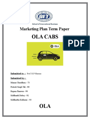 OLA CABS TERM PAPER | Taxicab | Transport