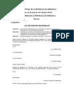 Ley de Fiestas Nacionales Gaceta Oficial No.29.541 - Notilogía
