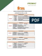 Cronograma Apresentações Promac Divulgação