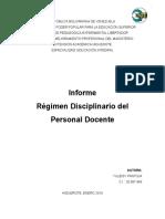 Informe Regimen Disciplinario Personal Docente