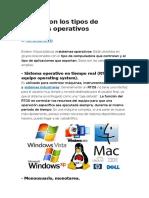 Cuáles Son Los Tipos de Sistemas Operativos