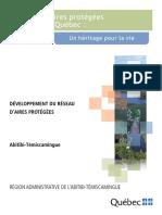 Développement du réseau d'aires protégées en Abitibi-Témiscamingue