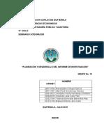 Planeacion e Informe de Investigación