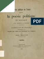Jean Skerlitch - L'Opinion Publique en France d'Après La Poésie Politique Et Sociale de 1830 à 1848