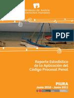 Reporte Estadístico de La Aplicación Del Código Procesal Penal Distrito Judicial de Piura