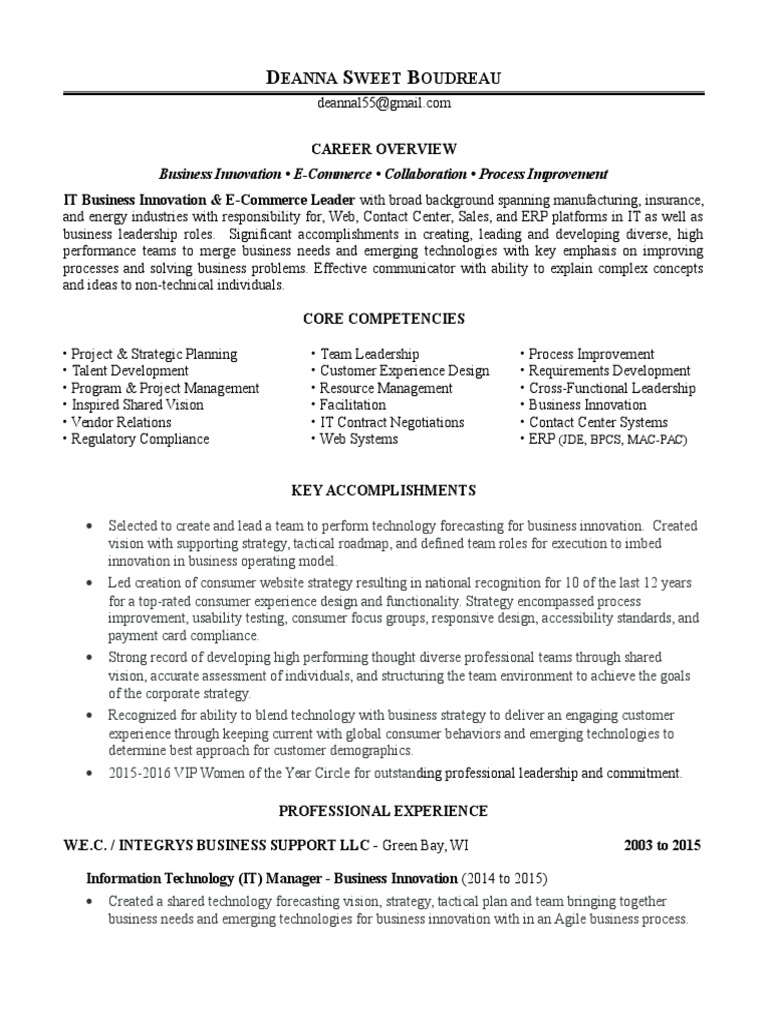 Information Technology Manager IT In Madison WI Resume Deanna ...