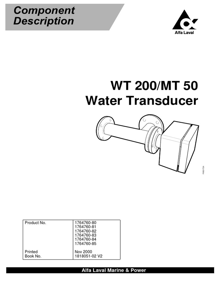 WT 200/MT 50 Water Transducer: Alfa Laval Marine & Power