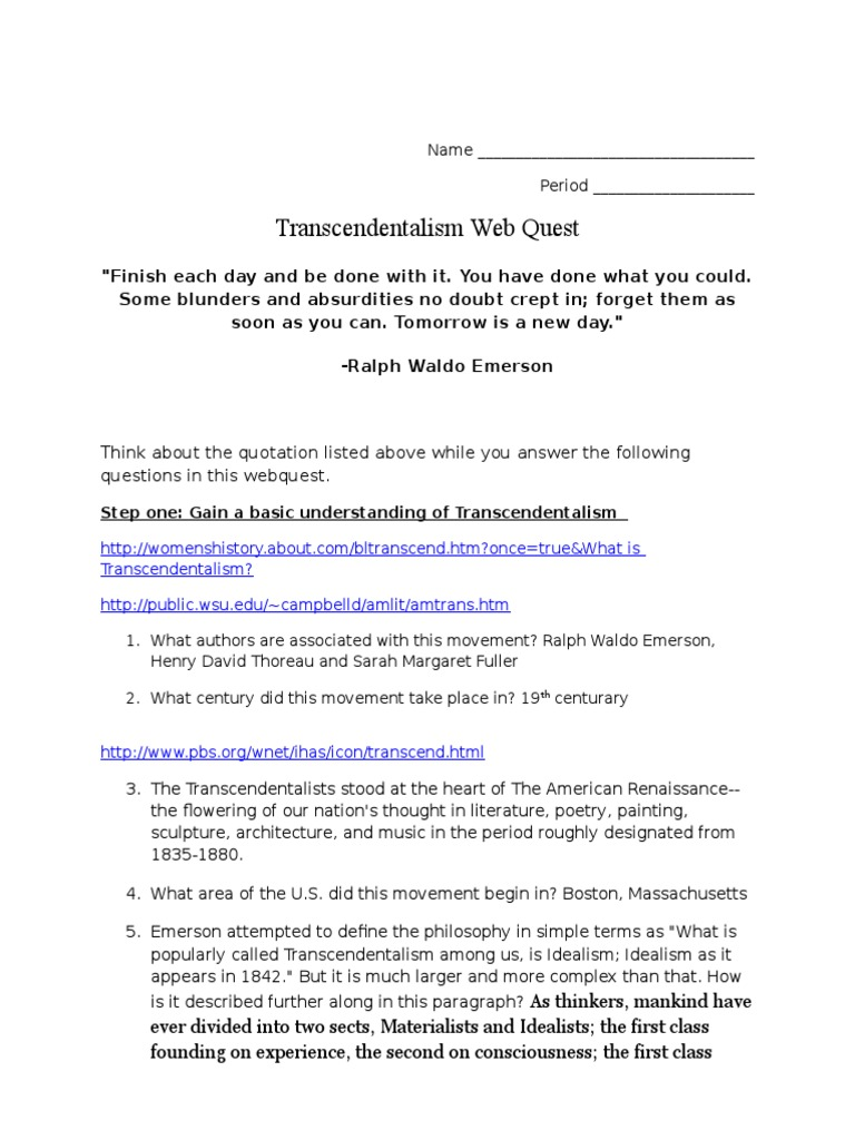 transcendentalism webquest transcendentalism ralph waldo emerson