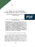 La teoría de las Relaciones Internacionales como Sociología. Antonio Truyol y Sierra