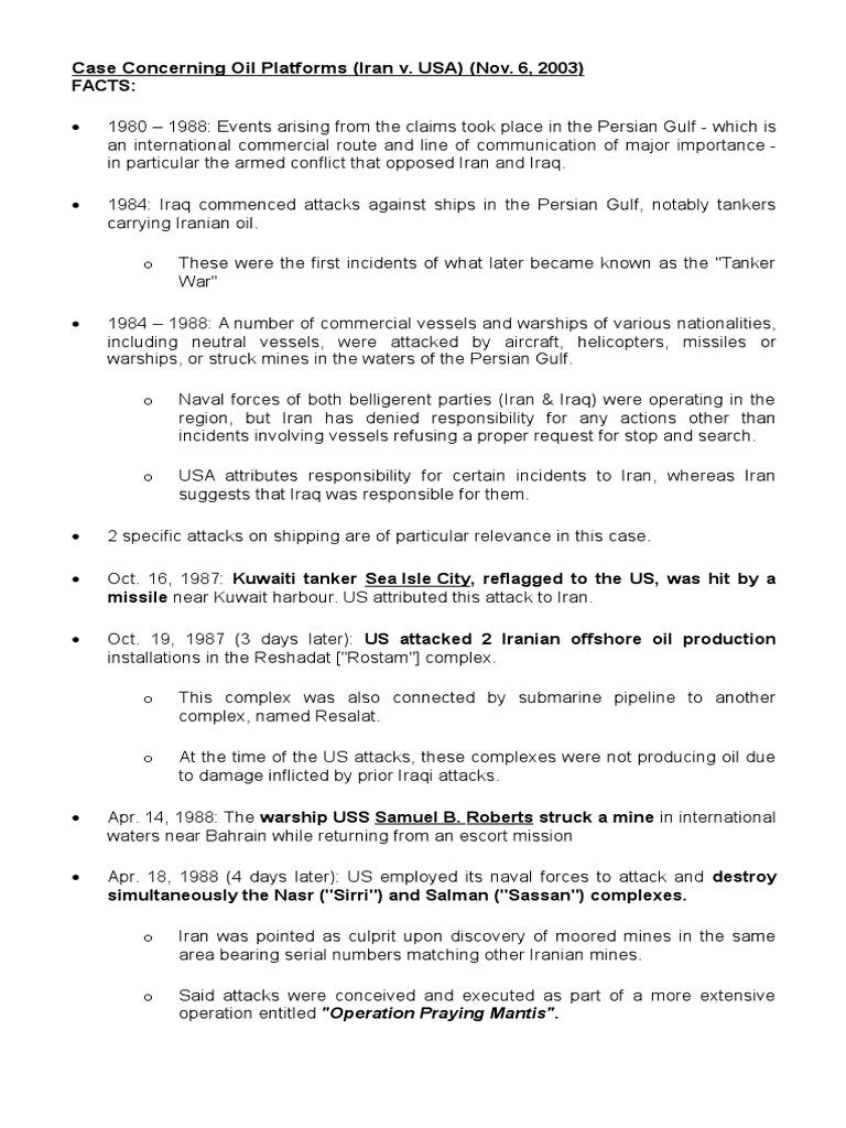 Case Concerning Oil Platforms (Iran v US) | Treaty | Iran