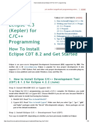 Eclipse 4 3 (Kepler) for C/C++ Programming: How To Install