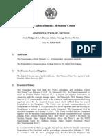 Domain Name Dispute [WIPO AMC Decision] - Patek Philippe S.a. v. Domain Admin, Taranga Services Pty Ltd [2010]